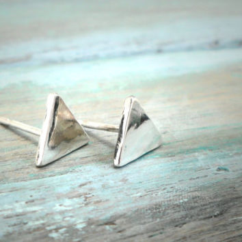 Sterling Silver Triangle Earrings, Geometric Design, Pyramid Bohemian Earrings, Everyday Wearable.