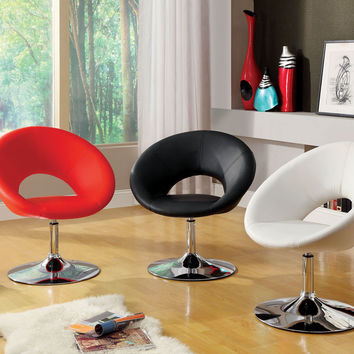 Faliro contemporary style Black leather like vinyl open back round swivel accent side chair