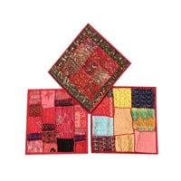 Mogul 3 Beautiful Indian Handmade Cushion Covers Vintage Embroidered Patchwork Decorative Pillow Case 16X16 - Walmart.com