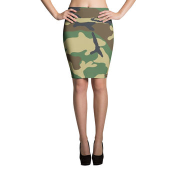 Green Camouflage Pencil Skirt