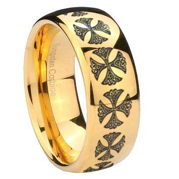 8mm Medieval Cross Dome Gold Tungsten Carbide Wedding Engagement Ring