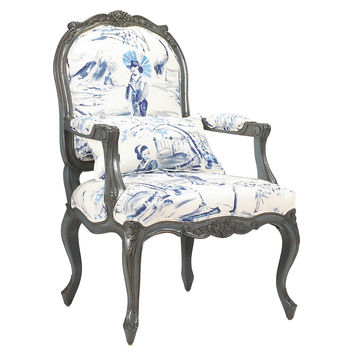French Heritage, Pierre Bergère Armchair, Ink/White, Accent & Occasional Chairs