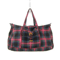Black & Red Plaid Fabric Suitcase Vintage revival overnight GITANO carry on duffel bag shoulder bag top handle weekender Tote