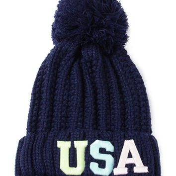 "Navy ""USA"" Ball Top Knit Beanie"