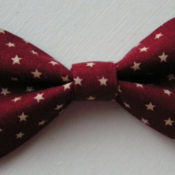 Dark Red and Ivory Stars Double Hair bow, Hair Bows, Fabric bows, Kids and adults