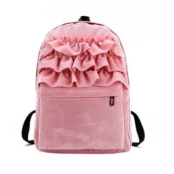 Fashion Flouncing Lace Backpack Students Solid Velvet Backpacks Book Bag School Travel Bags For Teenager Girls LBY2017