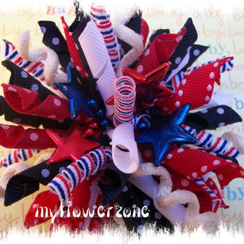 Patriotic Korker Hair Bows  Korker Hairbows  Dots by MyFlowerZone