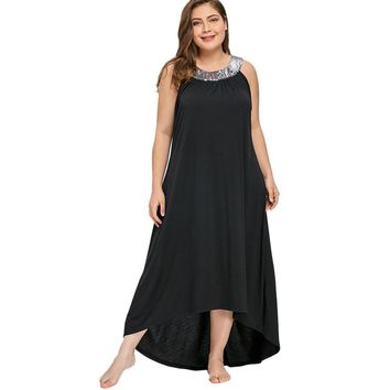 Plus Size 5xl Sequins Collar Sleeveless Long Maxi Dress Kaftan Women Summer Sexy Black O-neck Elegant Party Dress Boho Vestidos