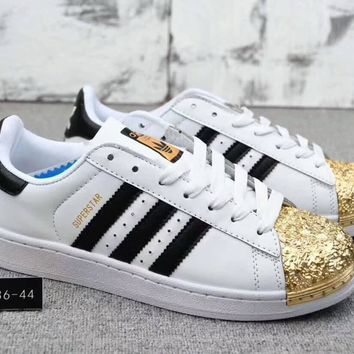 Adidas Superstar Fashion Women Men Leisure Electroplating Color Shell Toe Metal Board Shoes Sport Running Shoe Sneakers White Gold I-CQ-YDX-1