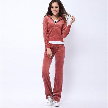Juicy Couture Pure Color Velour Tracksuit 6047 2pcs Women Suits Wine Red