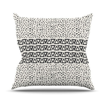 "Pom Graphic Design ""Wind Day"" White Black Throw Pillow"