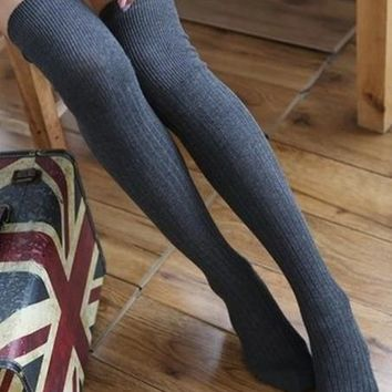 Cotton Womens Knit Over Knee Stripped Thigh Stockings High Socks Tights [7861027335]