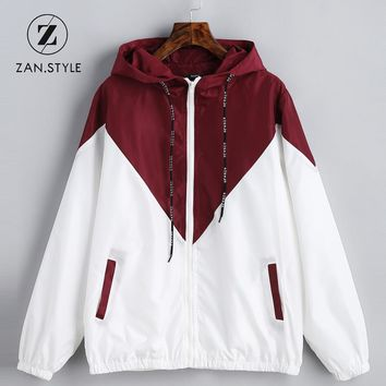 Hooded Two Tone Windbreaker Jacket Zipper Pockets Casual Long Sleeves
