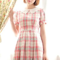 Plaid Peter Pan Collar A Line Dress - OASAP.com