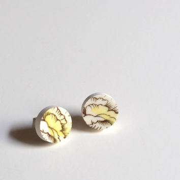 Simple Circle Broken Plate Stud Earring - Yellow Rose - Recycled China