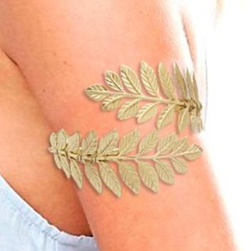 Gold Silver Greek Laurel Leaf Arm Cuff Bracelet