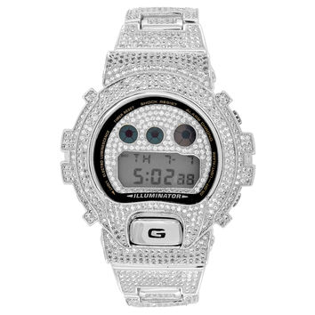 Full Iced Out G Shock Watch Simulated Diamonds DW600 Custom