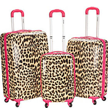 Rockland Luggage Leopard 3 Piece Hardside Spinner Set - eBags.com