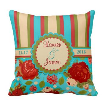 Custom Wedding Couple Vintage Roses Throw Pillow