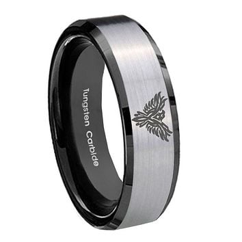 8MM Silver Black Bevel Edges Phoenix Tungsten 2 Tone Laser Engraved Ring