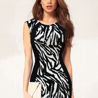 Black and White Zebra Print Sleeveless Bodycon Mini Dress