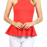 Necklace Detail Peplum Top - CORAL