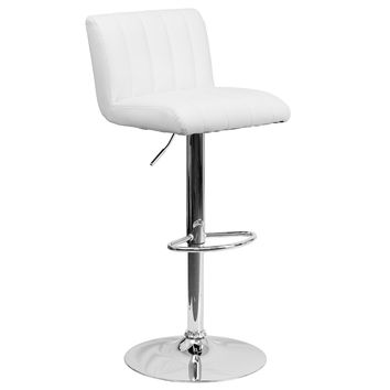 Contemporary White Vinyl Adjustable Height Bar Stool with Chrome Base CH-112010-WH-GG