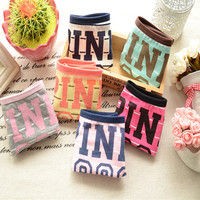 2015 Hot Selling Young Girl Sexy 100% Cotton Underwear Women candy color pink  Briefs Brand Cute Letter Women Panties 4NK012