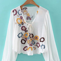 V Neck Lace Up Floral Embroidery Long Sleeve Blouse