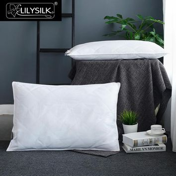 LILYSILK 100 Pure Silk Lined Pillow Neck Body Washable Cotton Covered Sleep Throw White Height 13cm Chinese Free Shipping