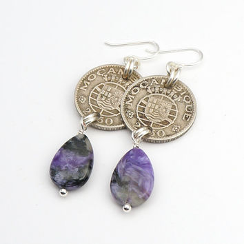 Purple Mozambique earrings, silver coins, charoite teardrop beads, sterling French hooks