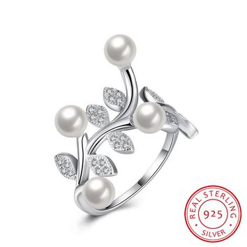 925 Sterling Silver Ring Pearl Ring