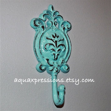 Aqua Blue Metal Wall Hook/ Cast Iron/ Shabby Chic Decor/ Decorative Key Hanger/ Accessory/ Coat Rack /Towel Holder
