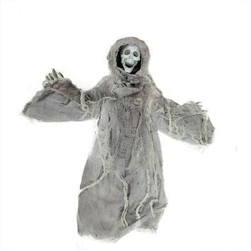 """36"""" Touch Activated Lighted Gray Death Reaper Hanging Halloween Decoration with Sound"""