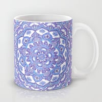 Lilac Spring Mandala - floral doodle pattern in purple & white Mug by Micklyn