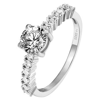 Sterling Silver Solitaire Ring Engagement Wedding Promise Womens Sterling Silver