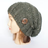 Tweed army green hand knit slouchy beanie hat