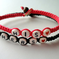 His Hers Couples Bracelet Set, Hot Pink and Black, Hemp and Bamboo Cord