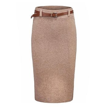 2017 Autumn Winter Knitting High Waist Skirt Womens Slim Package Hip Skirts Pencil Skirts Feminino Saia Ladies Knee-length Skirt