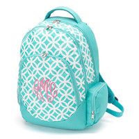 Monogrammed Backpack Aqua Sadie Geometric Bookbag Back Pack Book Bag