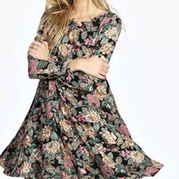 Spring Floral Print Long-Sleeve Zipper Dress