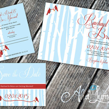 Winter Wedding: Country wonderland Invitations, RSVP, and Save the dates. Little red birds Help add a whimsical feel.