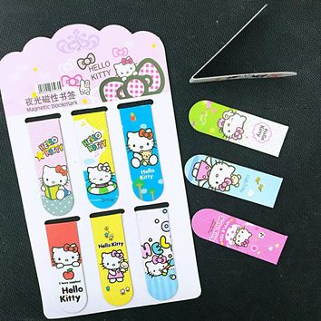 6pcs/pack Cute Kawaii Hello Kitty Magnetic Bookmarks Books Marker of Page Student Stationery School Office Supply Kids Gift