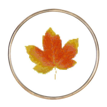 Autumn Fall Leaf Cross Stitch Pattern