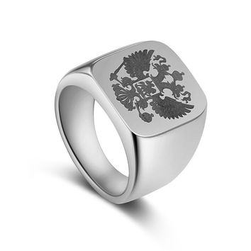 High Polished Titanium/Men's Stainless Steel Eagle Ring GOLD, SILVER, BLACK