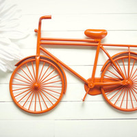 Orange Metal Bicycle / Metal Bike Art / Beach Decor / Retro Decor / Mother's Day Gift / Bike Decoration / Metal Wall Art / Bicycle Art