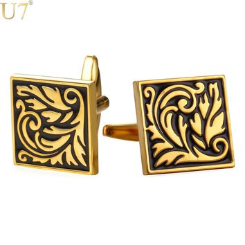 U7 New Square Cufflinks For Mens Enamel French Jewelry Gold Color Men Suit Vintage Leaf Cufflinks Box C020
