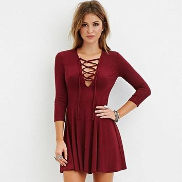 Drawstring Lace Swing A-Line Pleated Dress