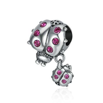 925 Sterling Silver Ladybug Story Clear CZ Dangle Charm Pendant fits Womens Charm Bracelet