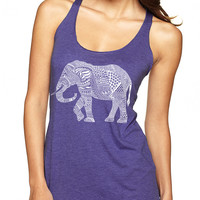 Purple Geo Pattern Elephant Tank Top